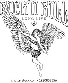 Rock poster design with an angel girl illustration