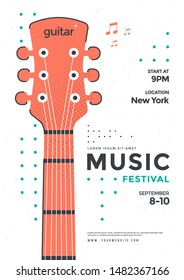 Rock Poster design template with the stylized acoustic guitar. Music festival pop punk flyer design in minimalist style.