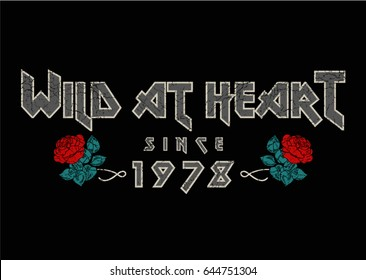 Rock print with text and flowers in vector.
