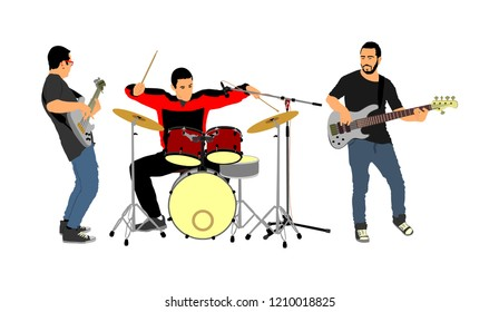 Rock and roll band vector illustration. Musician play bass guitar and drums on stage. Super star music concert show. Great event for fan supporters. Drummer and guitarists players.