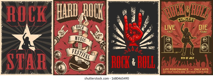 Rock and roll colorful posters with letterings rocker playing electric guitar loudspeakers goat hand gestures dancing crowd silhouette in vintage style vector illustration