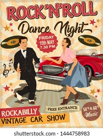 Rock and Roll Dance Night retro poster with  dancing couple and retro car  in rockabilly style.