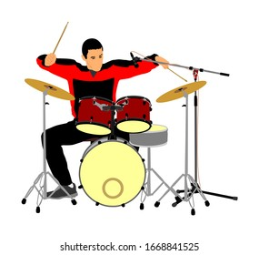 Rock and roll drummer vector illustration isolated on white background. Musician play drums on stage. Super star music concert show. Great event for fan supporters. Drummer player man.