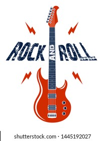 Rock and Roll emblem with electric guitar vector logo, concert festival or night club label, music theme illustration, guitar shop or t-shirt print, rock band sign with stylish typography.