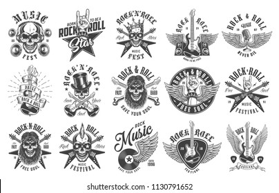 Rock and roll emblems set on white background. Vector illustration