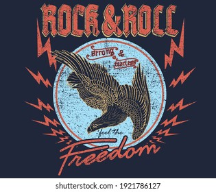Rock and roll freedom eagle artwork for apparel , logo others. vintage look logo.