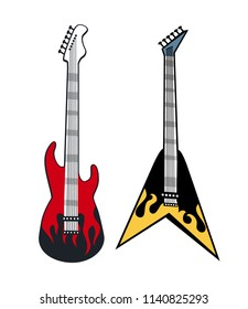 Rock and roll guitars colorful vector illustration, concepts of special musical instruments with printed red and yellow flame, electro music equipment