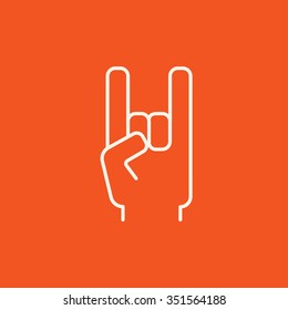 Rock and roll hand sign line icon for web, mobile and infographics. Vector white icon isolated on red background.