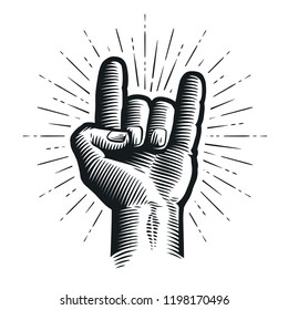 Rock and Roll or Heavy metal, devil horns. Hand sign. Sketch vector illustration