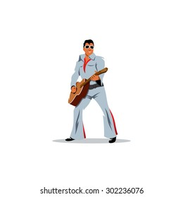 Rock and Roll King parody. Talent Musician artist with a guitar in the image of Elvis Presley sign. Vector Illustration. Branding Identity Corporate logo design template Isolated on a white background