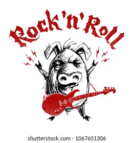 Rock and roll lettering with cartoon pig. Eps8. RGB Global colors