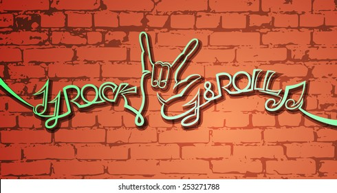 rock and roll line art style on the brick wall background vector illustration