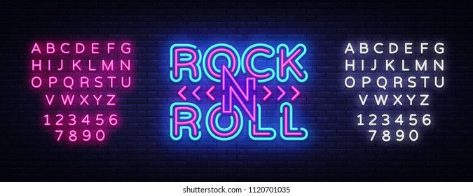 Rock and Roll logo in neon style. Rock Music neon night signboard, design template vector illustration for Rock Festival, Concert, Live music, Light banner. Vector. Editing text neon sign