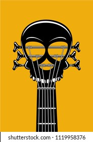 Rock and roll music poster. Guitar riff with skull. Heavy metal lable, tattoo style vector illustration.