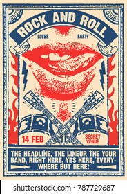Rock and Roll Party Lover Poster Flyer Template