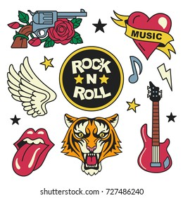 Rock and roll patches collection. Vector illustration of rock music badges and symbols, such as gun and rose, heart with the ribbon, tiger face, guitar, open mouth and wings. Isolated on white.