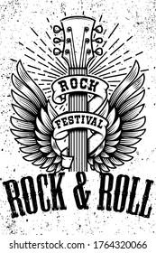 Rock and roll poster template. Winged guitar on grunge background. Design element for logo, emblem, card,banner, t-shirt. Vector illustration