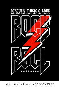 Rock and roll print in black colour and vector.