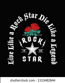 Rock and roll print in black colour and in vector with red roses.