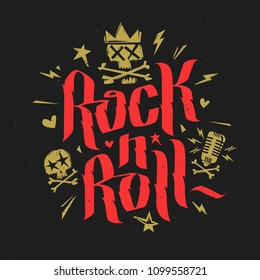 Rock and Roll Red and gold Lettering Calligraphy with skull in crown music Poster, logo, label. Rock n Roll red grunge style inscription for Tee print stamp t-shirt. Vector template