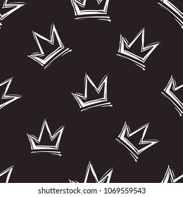 Rock and roll seamless pattern with crown. Vector hard rock doodle illustration. Cartoon rock star iconic backdrop for music band, concert, party. Isolated on black background.