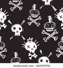 Rock and roll seamless pattern with funny rock and punk skulls. Hard rock doodle illustration. Cartoon rock star iconic skull backdrop for music band, concert, party. Isolated on black background.