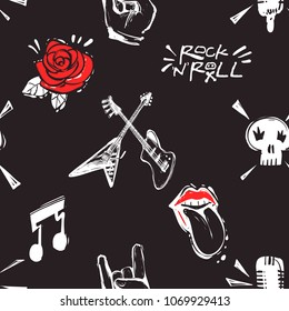 Rock and roll seamless pattern with rock'n'roll signs, music notes, rock gesture, microphone, skull. Cartoon rock star iconic backdrop for music band, concert, party. Isolated on black background.
