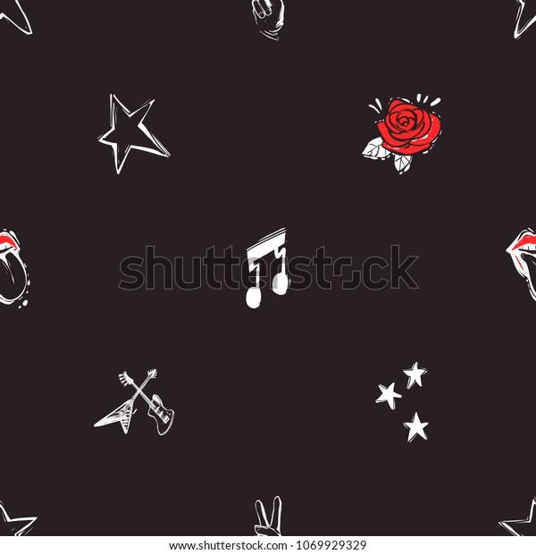 Rock Roll Seamless Pattern Rose Guitars Stock Vector