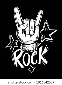 Rock and roll  sign. Hand drawn illustration converted to vector
