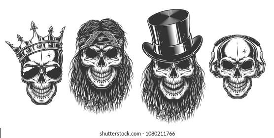 Rock and roll skull set. Vector illustration