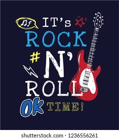 rock and roll slogan with icons and guitar illustration