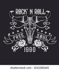 Rock and roll tattoo. Bull skull, roses. Symbol of hard rock, music, western, heavy metal. Rock t-shirt design