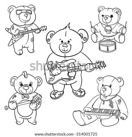 78f75893d Royalty-free stock vector images ID: 314001725. rock and roll Teddy bear  for children drawn hero,hand made teddy bears,hand drawn hero bear - Vector