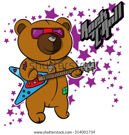 d7fea101f Royalty-free stock vector images ID: 314001734. rock and roll Teddy bear  for children drawn hero,hand drawn teddy bear,handmade - Vector