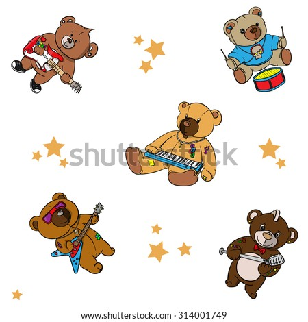 03a1f8f29 Royalty-free stock vector images ID: 314001749. rock and roll Teddy bear  for children drawn hero - Vector