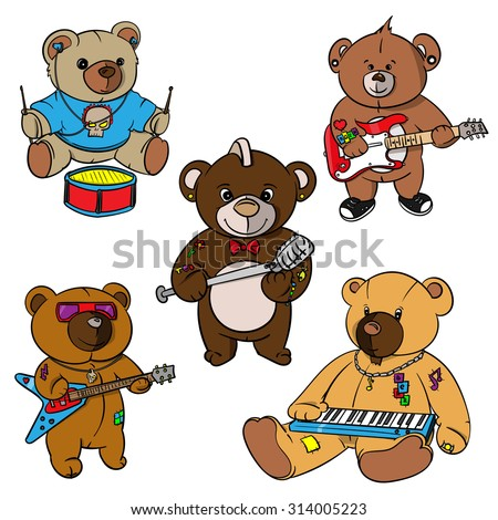 9c91c850d Royalty-free stock vector images ID: 314005223. rock and roll Teddy bear  for children drawn hero,hand drawn teddy bears,hand made hero - Vector