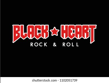 Rock and Roll text with star, fashion print for t shirt and other uses.