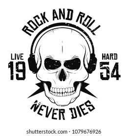 Rock and roll t-shirt graphic design with skull in headphones and lightning. Rock music slogan for t-shirt print and poster. Vintage skull with grunge texture. Vector