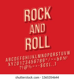 Rock and roll vintage 3d vector lettering. Retro bold font. Pop art stylized text. Old school style letters, numbers, symbols pack. 90s poster, banner, t shirt typography design. Red color background