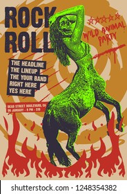 Rock and Roll Wild Party Gig Poster Flyer Template