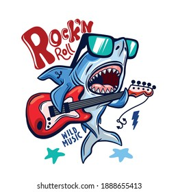 Rock and roll.Shark playing guitar vector print.Shark character design.Vector illustration design for fashion fabrics, textile graphics, print.