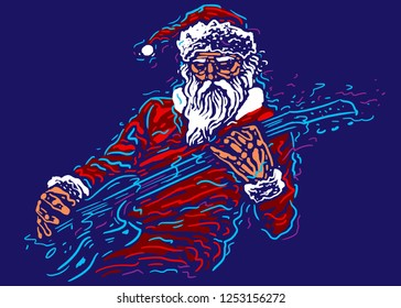 Rock Santa. Festive character with a guitar. Christmas and new year poster. Vector illustration
