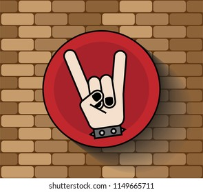 Rock sign hand icon logo symbol punk metal emo music styles