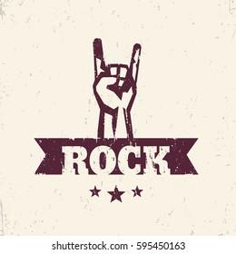 rock sign, hand-horn, vector symbol with popular rock-concert gesture