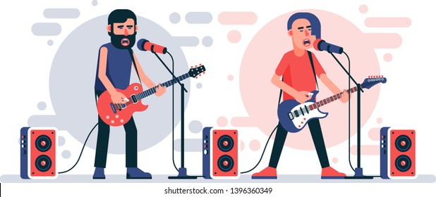 Rock singer with an electric guitar sings into microphone on stage. Rockstar character. Vector flat illustration.