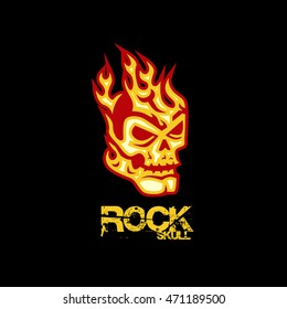 Rock Skull Flaming Logo
