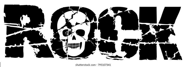 Rock skull, grunge vintage design t shirts