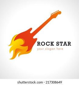 Rock star or band fire logo brand. Electric guitar fiery and flame musical vector sign. Art events and tours symbol. Isolated abstract graphic design template.