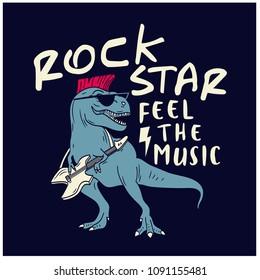 Rock star dinosaur  vector illustration. Funny illustration. Feel the music typography.