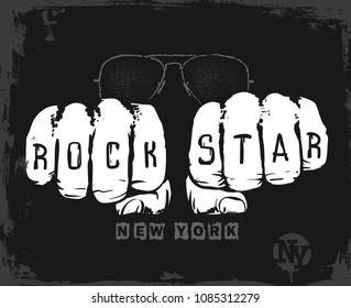Rock star graphic design , vector illustration t-shirt print.